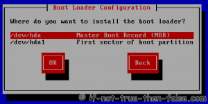 Select where to install bootloader, Master Boot Record (MBR) or First sector of boot partition